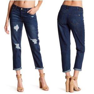 Kensie Distressed Girlfriend Jeans - Vega Wash